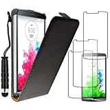 ebestStar - Funda Compatible con LG G3 D855 Carcasa Ventana Vista Cover Cuero PU, Funda Libro Billetera + Mini Lápiz +3 Peliculas, Negro [Aparato: 145.5 x 74.6 x 9.1mm, 5.5'']