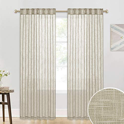 Sheer Curtains for Sliding Glass Door - Linen Texture Sheer Curtains, American Country Thick Curtains Brighten Living Space Office Pool Hut Sitting Area, Taupe, 52-inch x 90-inch per Panel, 2 Pcs