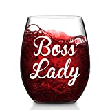 Modwnfy Boss Lady Stemless Wine Glass, 15 Oz Boss Wine Glass for Female Boss Mother Girlfriend Sister Friend Coworker, Funny Wine Glass Gift for Bosses Day Birthday Christmas Daily Life