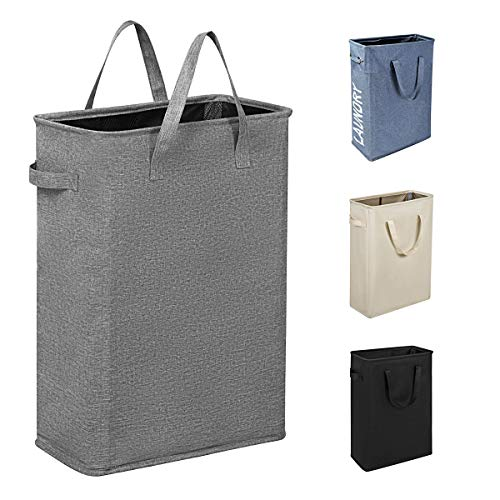 Chrislley 21' Slim Laundry Hamper Small Collapsible Laundry Basket Thin Narrow Laundry Hampers with Handles Dirty Slim Hamper for Laundry(Slim 21',Upgrade Grey 2)