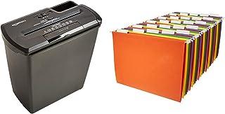 AmazonBasics 8-Sheet Strip-Cut Paper, CD and Credit Card Home Office Shredder & Hanging Organizer File Folders - Letter Si...