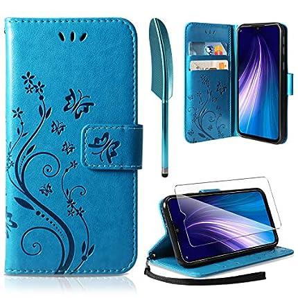 AROYI Funda Xiaomi Redmi Note 8, Relieve Dibujo Carcasa de Tipo Libro Soporte Plegable Ranuras para Tarjetas Magnético Ultra-Delgado Carcasa Case para Xiaomi Redmi Note 8, Azul