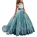 Princess Teal Long Girls Pageant Dresses Kids Prom Puffy Tulle Ball Gown US 8