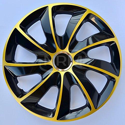 NRM Copricerchi di ruote in oro nero 13 pollici Set di 4 STIG | 4x Copricerchioni universali per ruote, oro nero 13'