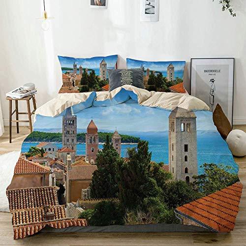 Juego de funda nórdica beige, vista aérea del casco antiguo de Croacia con tema histórico de torres históricas, juego de cama decorativo de 3 piezas con 2 fundas de almohada, fácil cuidado, antialérgi