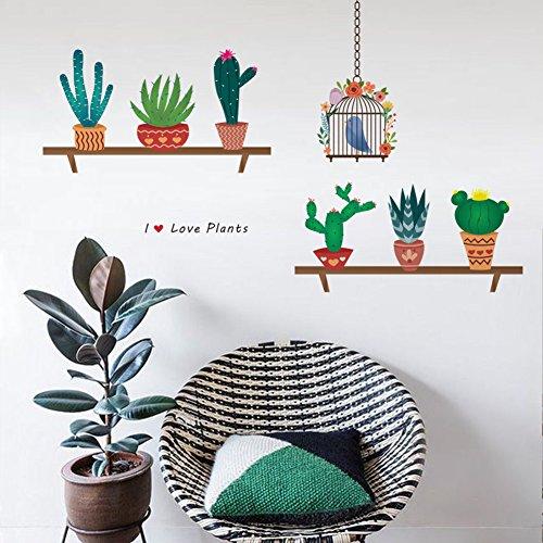 decalmile Cactus Plantas Pegatinas de Pared Vinilo Naturaleza Pegatinas Decorativos Adhesiva Pared Dormitorio Salón Habitación Infantiles