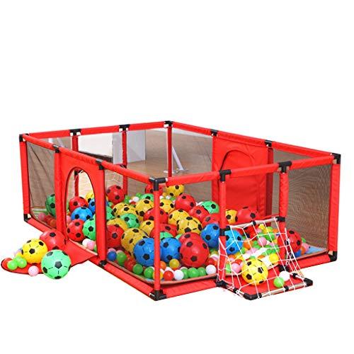 Parc bebe Grand Parc d'enfant pour Enfants pour garçons, Filles, Cour intérieure, Tapis de Jeu et balles, 6 Panneaux, 120 × 180 × 62cm (Couleur : Rouge)