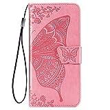 TANYO Schmetterling Flip Folio Hülle für Huawei P smart 2021, Schutzhülle PU/TPU Leder Klapptasche Handytasche mit Kartenfächer, Handyhülle - Rosa