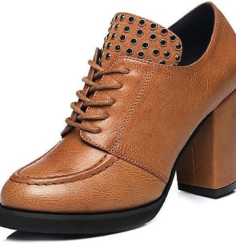 NJX  Chaussures Femme - Extérieure   Décontracté - Noir   Marron - Gros Talon - Talons   Confort - Talons - Synthétique