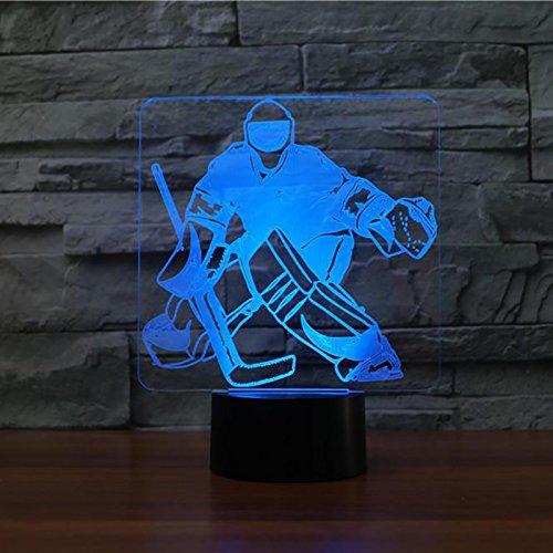 3D Led Lampe Nachtlicht Eishockey-Torwart Optical Illusion Lampe,Schlafzimmer Schreibtisch Tischdekoration Geschenk Für Kinder Raum Dekor ,Weihnachts Valentine Geburtstag Geschenk