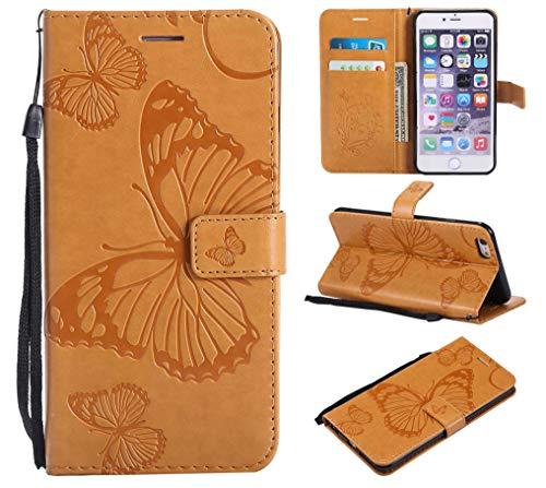 BoxTii® Coque iPhone 6 Plus/iPhone 6s Plus, Etui en Cuir de Première Qualité avec Stand pour Apple iPhone 6 Plus/iPhone 6s Plus (#8 Jaune)
