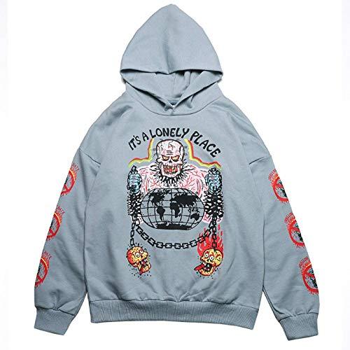 N\C Y2K Ladies Harajuku Hoodie and Sweatshirt Skull Graffiti Print Retro Pullover Hip Hop Street Couple