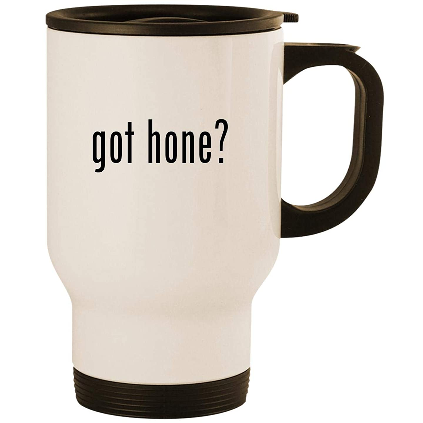 got hone? - Stainless Steel 14oz Road Ready Travel Mug, White