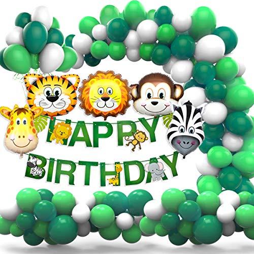 Amteker Kindergeburtstag Deko - 36 Stück Dschungel Geburtstag Dekorationen, Happy Birthday Banner, Luftballons, Tierfolienballon für Kinder Kindergarten Geburtstagsdeko