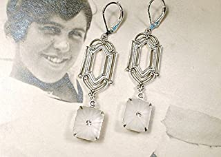 Art Deco Camphor Glass Dangle Earrings, Antique Silver Long Bridal Drop Earrings, 1920s Wedding Jewelry Great Gatsby Flapper Vintage Inspired Bridesmaid Statement