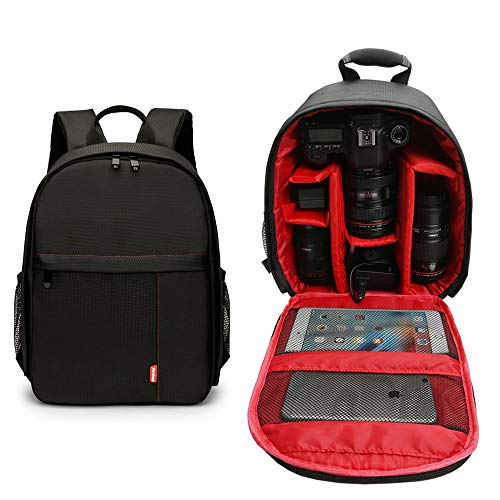 fewao Mochila para cámara antichoque Mochila Impermeable, Funda para cámara Profesional con Soporte para trípode y Bolsillos de Almacenamiento para fotografía de Viaje al Aire Libre en Interiores