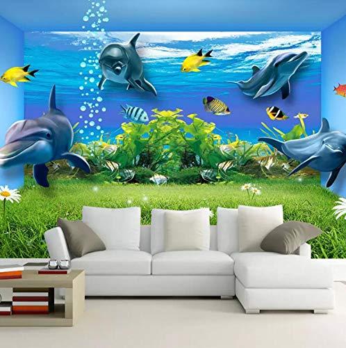 3D niet-geweven behang Aquarium muurschilderingen op maat Naadloos Groot behang Woonkamer Slaapkamer Hotel Tv Achtergrond Wandbekleding 3D Dolfijn Behang 120cm*100cm
