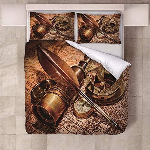 Jior Home Art beddengoedset met 2 kussenslopen, dekbedovertrek, dekbedovertrek Hidden, katoen, polyester, microvezel, anti-allergisch, telescoop, bloemenmotief