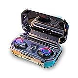Auriculares inalámbricos,Ajcoflt Auriculares Bluetooth 5.0 Sonido Estéreo Auriculares con microfono,Mini Auriculares In-Ear Carga Rapida Resistente al Agua con 2000 mAh Caja de Carga