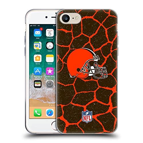 Head Case Designs Licenza Ufficiale NFL Giraffa Stampa Animale Cleveland Brown Art Cover in Morbido Gel Compatibile con Apple iPhone 7 / iPhone 8 / iPhone SE 2020