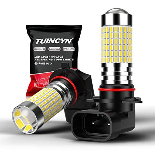 TUINCYN 9006 HB4 Ampoule antibrouillard à LED blanc xénon 6000K 3014 jeux de puces 144SMD Feu de jour à diodes électroluminescentes (DRL) super brillant Lampe de route DC 12V-24V (pack de 2)
