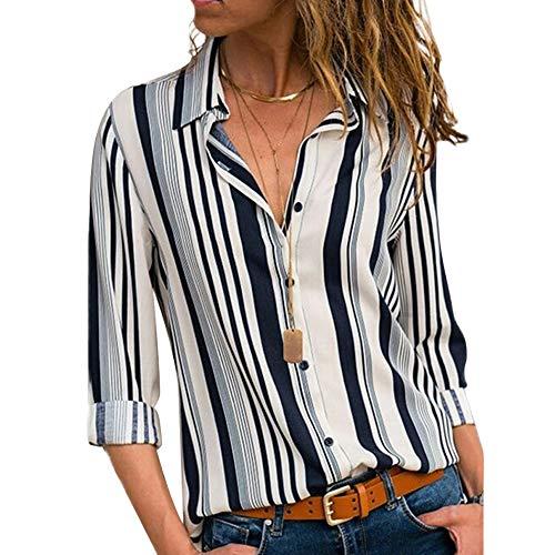 Camicia Scollo a V Donna Bluse Manica Lunga Botton Down Maglia Righe Verticali T Shirt Strisce Tunica Top con Bottoni Camicetta Ufficio Pullover Sweatshirt Maglietta Ragazza Tumblr