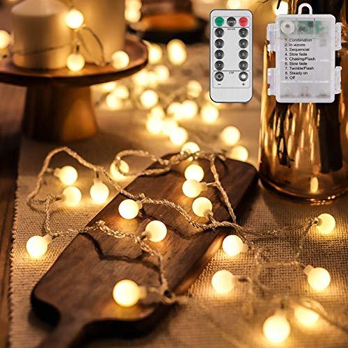 Catena Luminosa Batteria 10M 100LED 8 mode con Telecomando Luci da Esterno a Batteria Catena Luminosa a LED Catena di Luci a LED Catena di Lampadina Bianco Caldo
