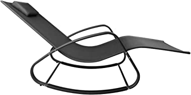 WeCooper Zero Gravity Rocking Chair, Patio Chaise for Indoor and Outdoor, Wavy Lounge Chair for Yard and Patio, Removable Hea