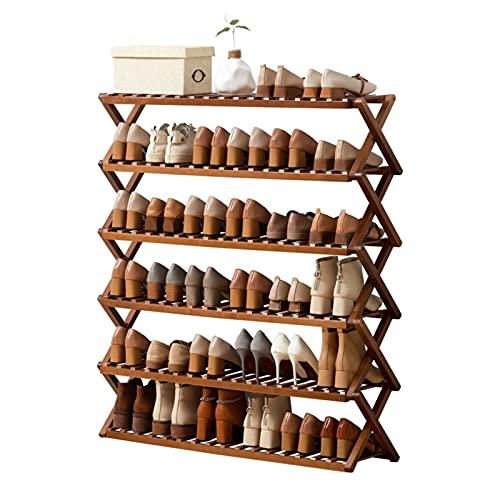 kaijunshop estantería para Zapatos Zapato Plegable Simple Almacenamiento portátil Multi-Capa Zapatos de bambú Estante Instalación Libre Dormitorio Dogar Plegable Zapato Estante Organizador de Zapatos