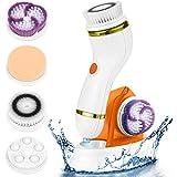 Limpiador Facial Eléctrico 4 en 1 Masajeador Cepillo de Limpieza Facial Limpiador de Poros Faciales con 4 Cabezas de Cepillo Para el Acné, Puntos Negros, Piel Muerta y Maquillaje, Naranja