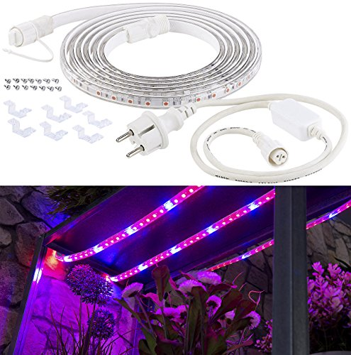 Lunartec Pflanzenlampe: LED-Pflanzen-Wachstums-Streifen rot & blau, 3 m, kürzbar, mit Netzteil (Pflanzenleuchtband)