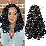 Flyteng 8 Packs crochet box braids 14 inch curly ends 3X bohemian goddess box braids crochet hair for Black Women (14inch-8packs, 1B)