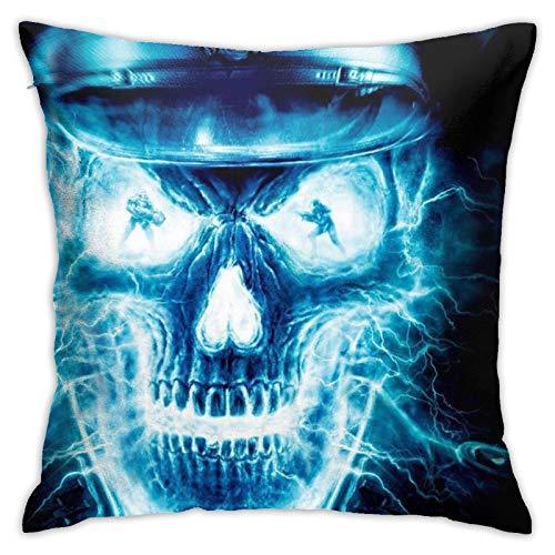 Fundas de almohada con diseño de calavera, color azul, acogedora, cuadrada, impresas, para sofá, hogar, sala de estar, 45,7 x 45,7 cm