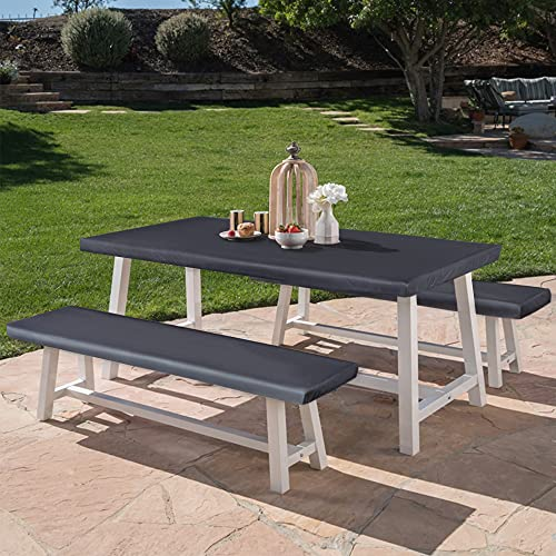 LUSHVIDA Elastic Stretch Picnic Table Cover Waterproof Elastic Table + Benches 3pcs Set Vinyl Fitted Flannel Backing Tablecloth for 30' 72' for Picnic/Travel/Holiday/Party/Folding Table Grey