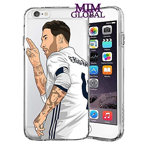 MIM Global Football Futbol Soccer Protectores Case Cover Compatible para Todos iPhone (iPhone 7 Plus/8 Plus, Ramos)