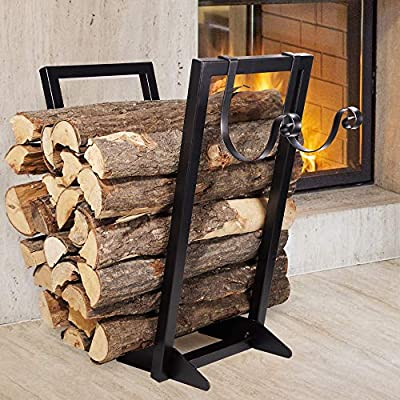 Qiang Ni Firewood Holder?Heavy Duty Wrought Indoor Firewood Holder or Outdoor Firewood Rack with Kindling Rack