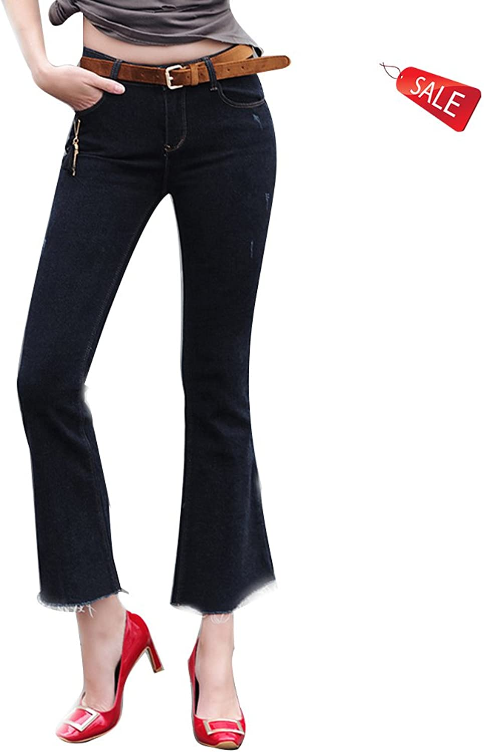 Europe The Jeans Middle Waist Spring and Autumn Slim Large Size Elasticity Retro Boot Cut Pant (Size   25)