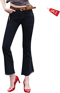 ヨーロッパニュージーンズミドルウエスト春と秋スリムラージサイズ伸縮性レトロブーツカットパンツ ガールズ (Size : 29)
