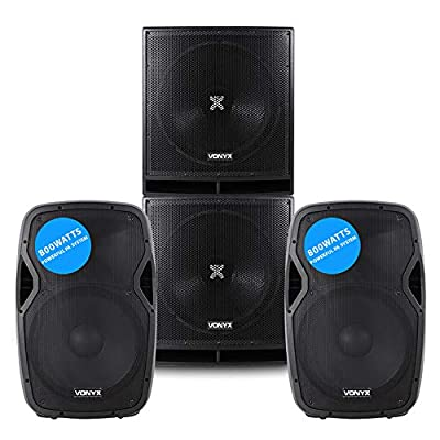 VONYX Pair Active Powered AP-15 Inch DJ PA Speakers and 18 Inch Bass Bin Subwoofers 4000w Peak