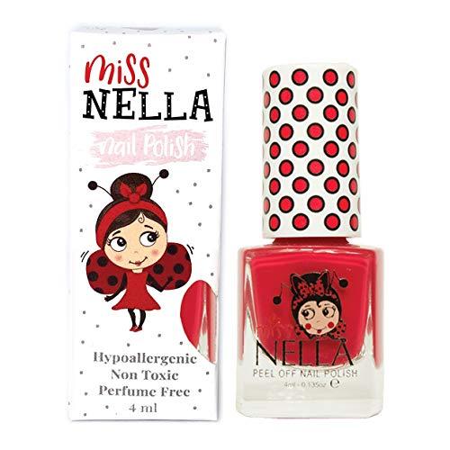 Miss Nella STRAWBERRY 'N' CREAM- Spezieller Rot Nagellack für Kinder, Peel-Off-Formel,...