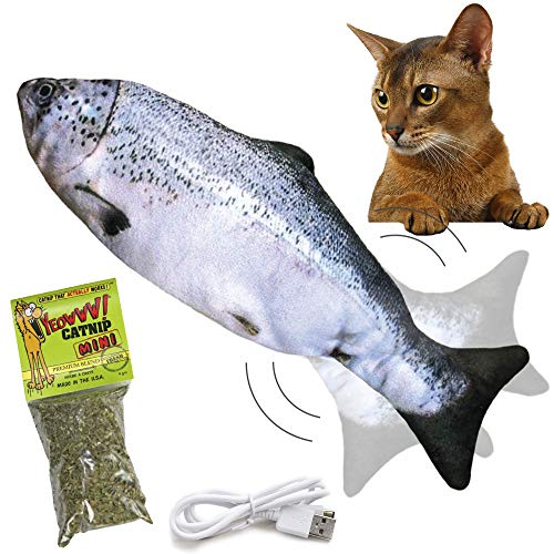 Legion of Feline Floppy Fish Cat Toy – Automatic Moving Kicker with Motion Detection – USB Rechargeable with Catnip…