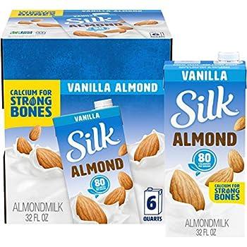 Silk Shelf-Stable Almond Milk Vanilla Dairy-Free Vegan Non-GMO Project Verified 1 Quart  Pack of 6