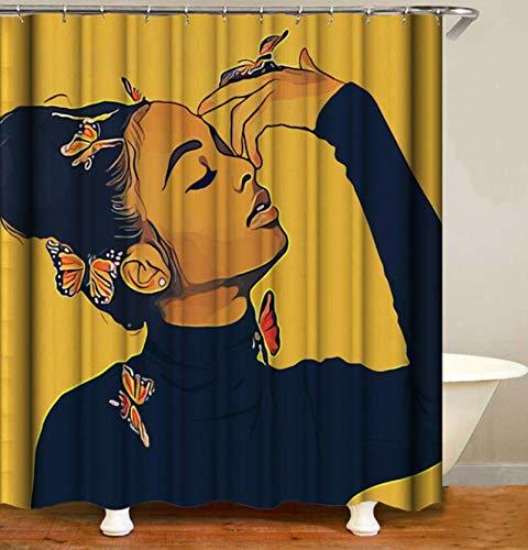 XZXMINGY 3D Bedruckter Duschvorhang 150x180cm Frauen afrikanischer Abstammung mit Krone Badezimmer Vorhang African Queen Paar Löwe Polyester Stoff Badewanne Dekoration 2