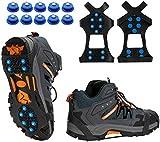TBoonor Schuhspikes Schuhkrallen Ice Klampen Schnee Spikes Steigeisen Eiskrallen Anti Rutsch mit 10 Spikes für Schnee und EIS (Blau, L 40.5-45 (EU))