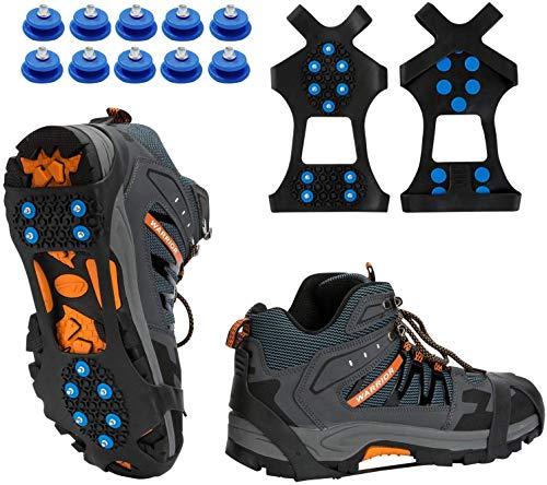 TBoonor Schuhspikes Schuhkrallen Ice Klampen Schnee Spikes Steigeisen Eiskrallen Anti Rutsch mit 10 (Blau, M 35-40 (EU))