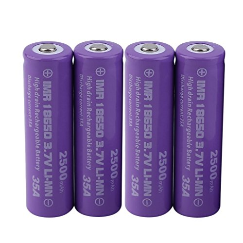 4pcs 18650 Battery, 18650 3.7V High Performance 2500mAh Rechargeable Lithium-ion Battery 18650 Button Top Batteries for LED Flashlight Lamp/Emergency Lighting/Portable Devices