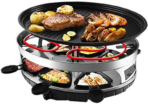 YASEKING Raclette Grill Smokeless Indoor BBQ Table Electric Grill Korean Style Barbecue Non-Stick Griddle Plate, with 6 Mini Pans, 1500 Watts (Size : 458 * 365 * 152mm)