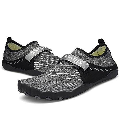 WHSS Zapatos de playa (gris) zapatos Aqua de secado rápido antideslizantes zapatos de agua para hombre al aire libre zapatos de vadeo de red de pedal zapatos perezosos (color: gris, tamaño: US12.5)