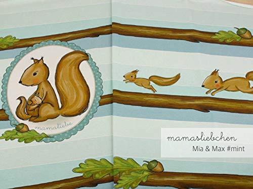 Jersey-Stoff mia&max #Mint (0,45m / 1 Panel) Eichhörnchen Panel