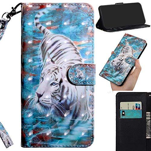 Robinsoni Custodia Compatibile con Nokia 7.1 Case Portafoglio Nokia 7.1 Cover Libro Case Pelle PU Antiurto Case Wallet Caso Taccuino Cover Custodia Libretto Cartone Animato Case Flip Cover,Tigre